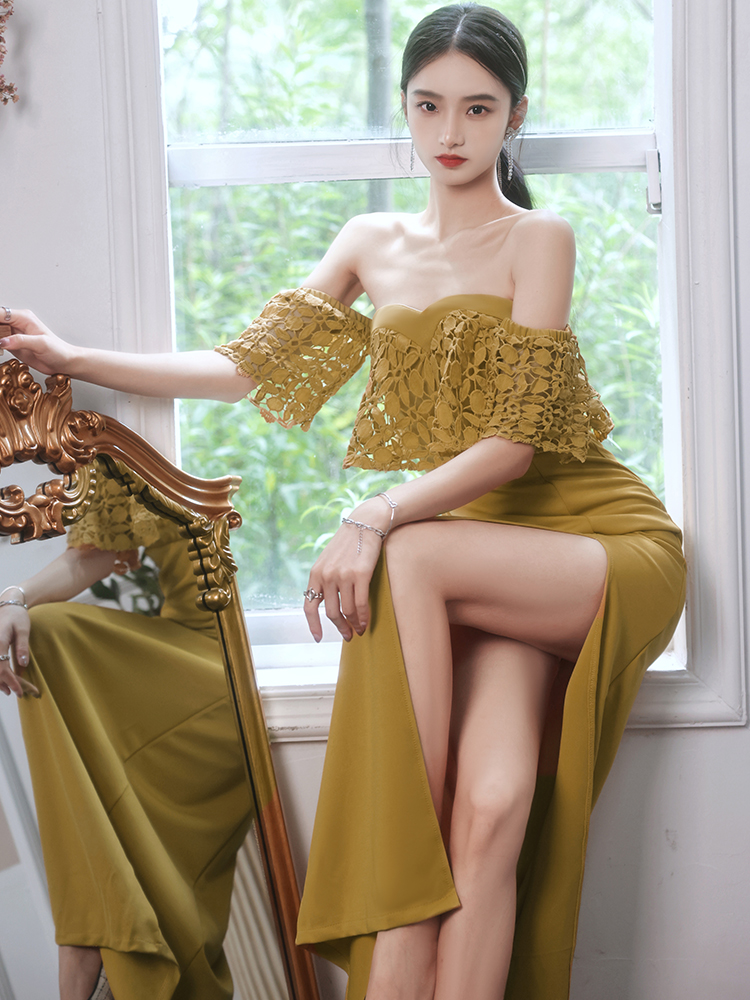 Elegant Off The Shoulder Formal Evening Gowns Sexy High Slit Strapless Mermaid Dress Women Summer Long Banquet Dresses
