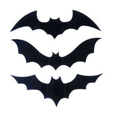Halloween-Bat-Wall-3D-Sticker 12pcs Black 3D DIY PVC Decal For Home Halloween party Scary Decoration Supplie for Wall