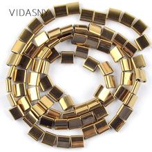 Natural Mineral Gem Stone Square Cube Gold Hematite Beads For Jewelry Making 5*2/5*5/6*4/6*6mm DIY Necklace Bracelet 15