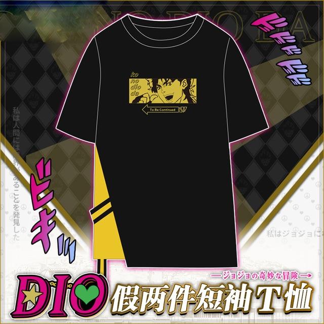 Anime JoJo's Bizarre Adventure DIO Cosplay Patchwork Short Sleeve T-shirt Tee Men Women Student Black Round Collar Tops Summer 4