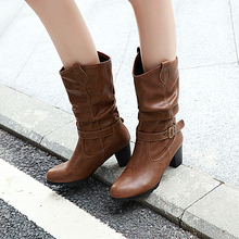 Plus Size 34-43 New Autumn Winter Mid-calf Women Boots High Heels Warm Plush PU Leather Boots High Quality Mid Calf Boots Ladies