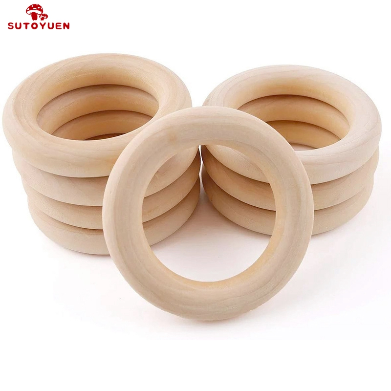 Sutoyuen 50pcs Natural Wood Teething Beads Wooden Ring For Teethers DIY Wooden Jewelry Making Crafts 40/50/55 / 70mm