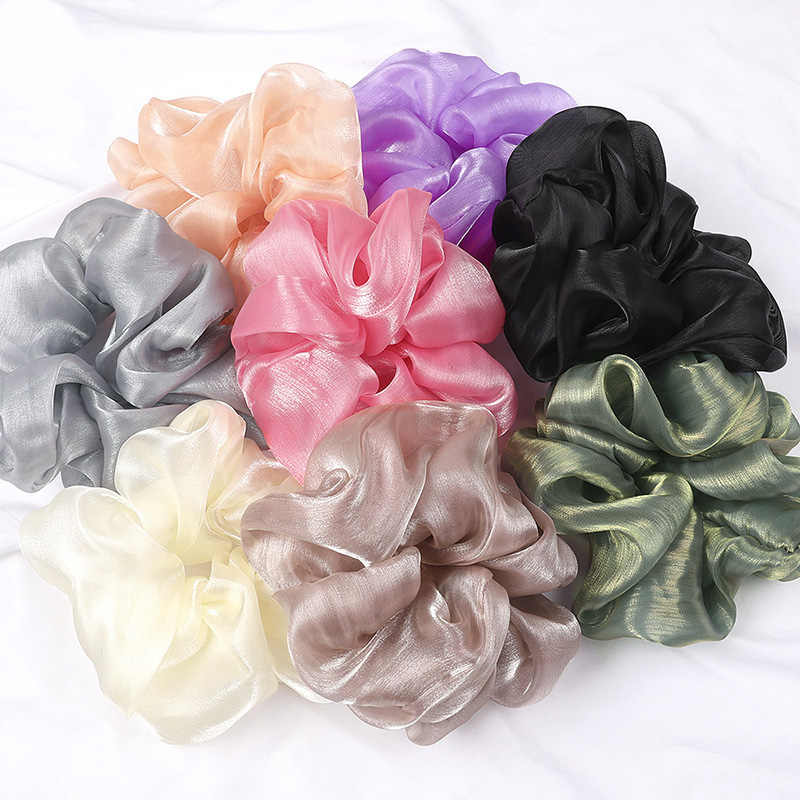 Fashion Koreaanse Oversized Haar Banden Grote Heldere Zijde Garen Elastische Haarbanden Touwen Vrouwen Eenvoudige Haar Accessoires Dames Hoofddeksels