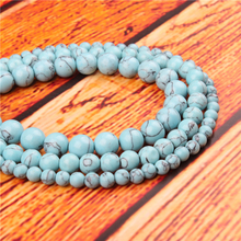 Light Blue Pine Natural Stone Bead Round Loose Spaced Beads 15 Inch Strand 4/6/8/10/12mm For Jewelry Making DIY Bracelet