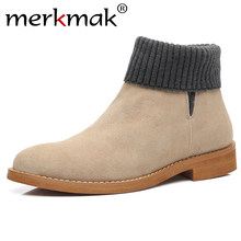 Merkmak Suede Mannen Laarzen 2019 Winter Warm Man Enkellaars Classic Slip-on Sok Boot Big Size 44 Desert casual Schoenen Schoeisel Platte(China)