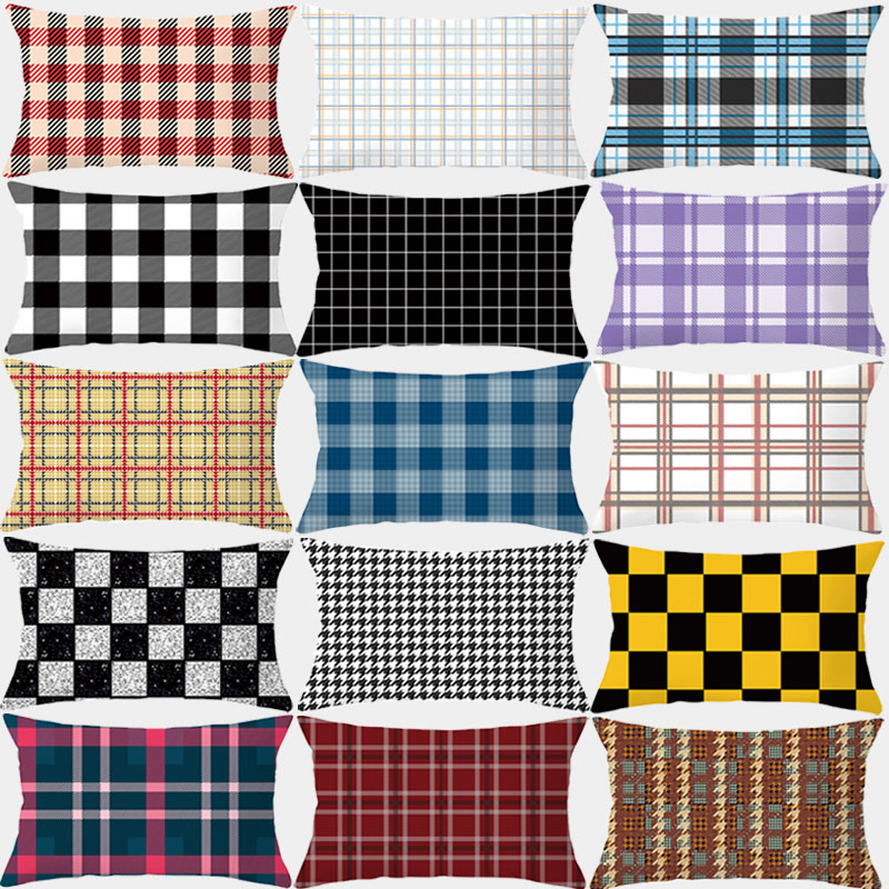 Cushion Cover <font><b>30x50</b></font> Plaid Stripes Pillowcase Sofa Decorative <font><b>Pillow</b></font> Covers Throw <font><b>Pillow</b></font> Polyester Home Decor <font><b>Pillow</b></font> <font><b>Cases</b></font> image
