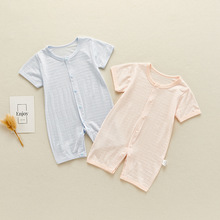 Newborn Baby Boys Girls Jumpsuit Solid Short-sleeved Baby Romper For Babies Infant Toddler Fashion Thin Pure Cotton Kid Clothes newborn baby baby boys girls summer clothes pure cotton go out rompers short sleeved jumpsuit baby boys climbing clothes pajamas