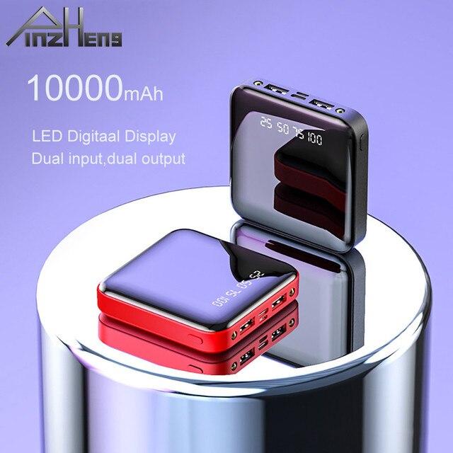 Pinzheng mini 10000mah banco de potência para xiaomi mi power bank carregador portátil bateria externa led display digital usb powerbank