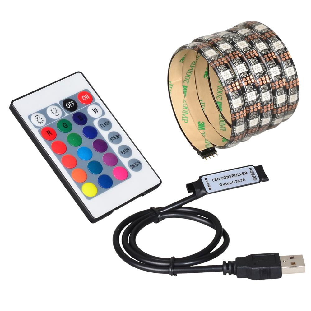USB 5V 5050 ruban à LED 60led 1m 2m mini IR 24key contrôleur noir PCB pas imperméable à leau