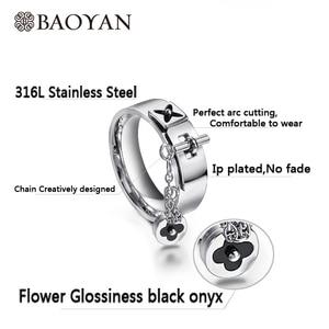 Image 3 - Baoyan Fashion Clover Flower Ring Love Gothic Promise Wedding Engagement Ring Gold/Sliver Stainless Steel Finger Rings For Women
