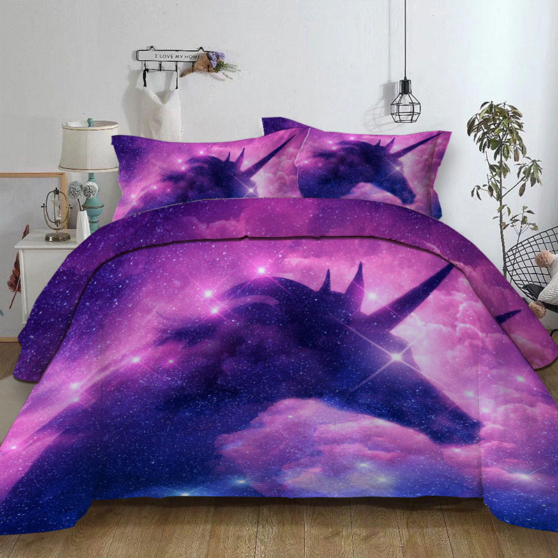 3d Galaxy Unicorn Bedding Set Kids Girls Psychedelic Space Duvet Cover 3 Piece Pink Purple Sparkly Unicorn Bedspread Duvet Cover Aliexpress