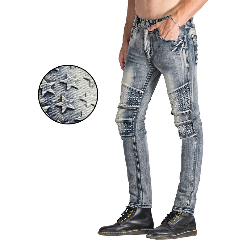 Spring And Summer Europe And America High Street Men Trend Star Splash-Ink Jeans American JEANS Slim Fit Elasticity Skinny Pants