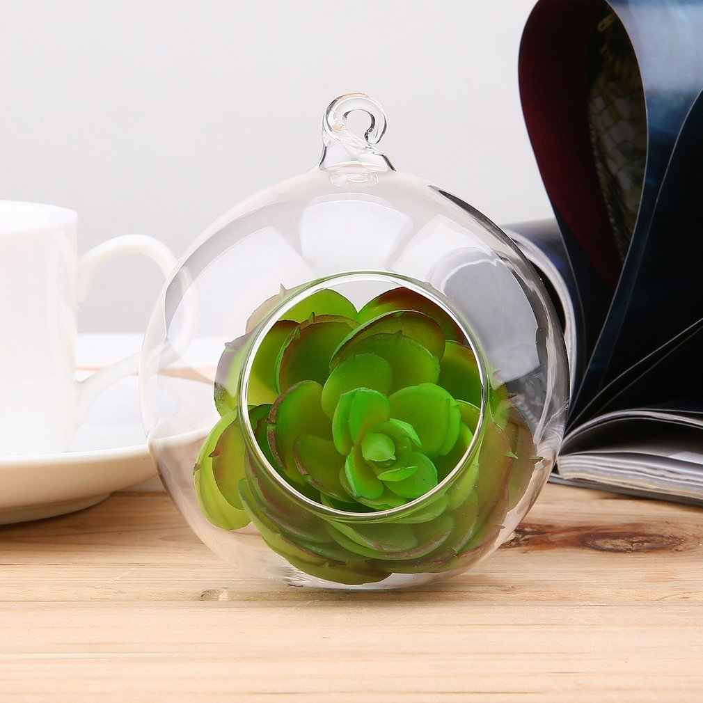 8cm Clear Glass Round 1 Hole Flower Stand Pot Plant Hanging Hydroponics for Home Office Wedding Decoration