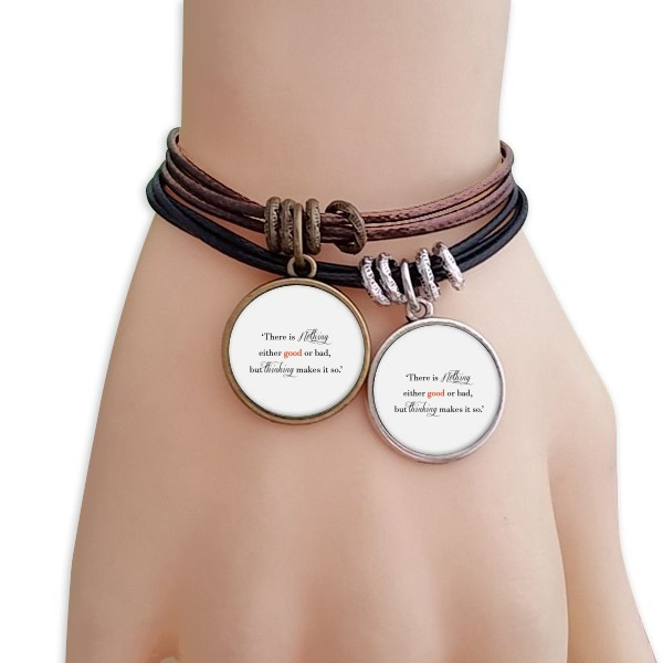 There Is Nothing Good Or Bad Bracelet Double Leather Rope Wristband Couple Set image