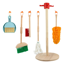 Toys Cleaning-Toy Vacuum-Cleaner Broom Pretend-Play Kids for Children Mop Wooden