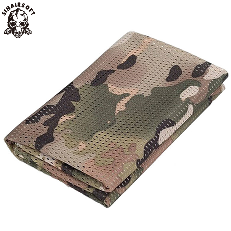 SINAIRSOFT Tactical Army Military Camouflage Mesh Scarf Men Women Scarf For Airsoft Sports Hunting CS Face Mask Sabage LY1401