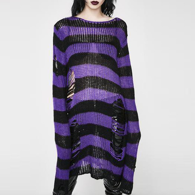 Punk Gothic Long Unisex Sweater 2020 Summer Women Striped Cool Hollow Out Hole Broken Jumper Loose Rock Thin Dark Streetwear Top 2