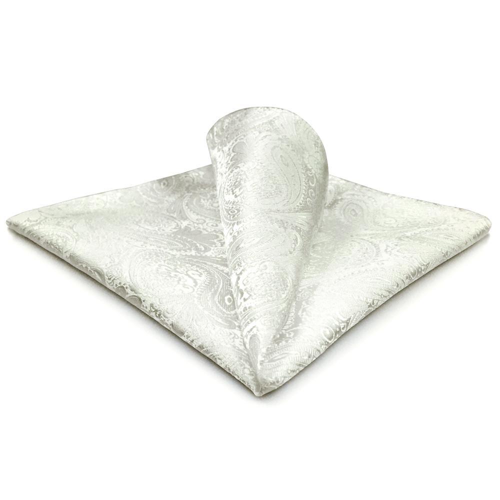 EH31 White Paisley Mens Pocket Square Silk Handkerchief Classic Hanky