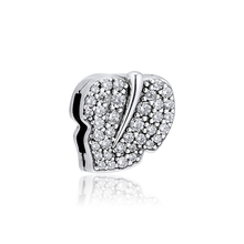 925 Sterling Silver Bead Fits Pandora Reflexions Bracelet Sparkling Leaf Clip Charm Beads for Women DIY Jewelry Kralen Wholesale 2018 autumn 925 sterling silver signature clip beads charm fits pandora reflexions bracelets for women fine jewelry diy making