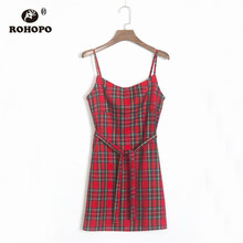 ROHOPO Double Layer Plaid Spaghetti Strap Dress Red Purple Punk Autumn Streetwear Girl Belted Mini H208