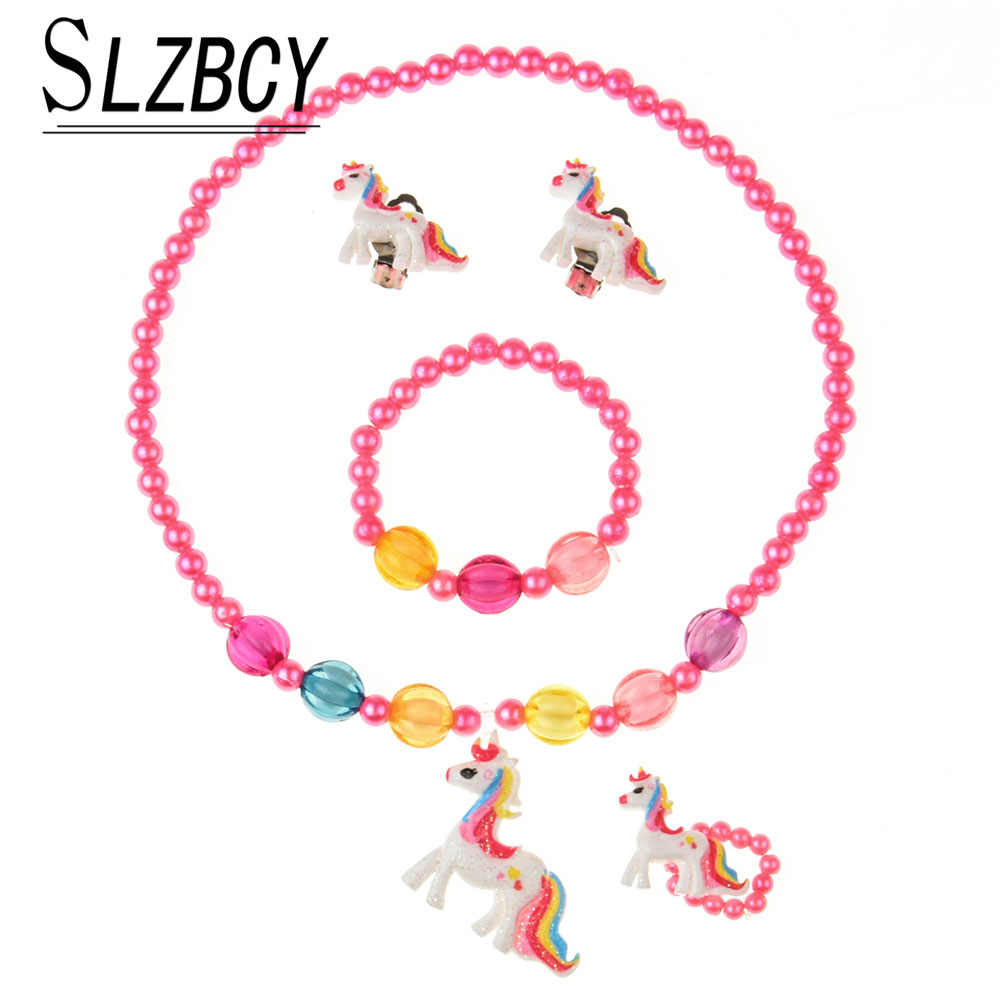 4 pcs/set Unicorn Children Jewelry Set Women Cute Simulated Pearl Acrylic Necklace Ear Clip Ring Elastic Bracelet Kids Jewelry