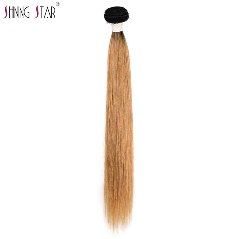 Colored 1B 27 Honey Blonde Bundles Ombre Brazilian Hair Weave Bundles Straight Human Hair Weave Dark Root Shining Star Remy Hair