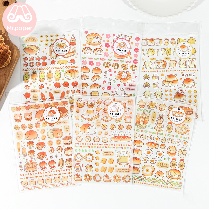 Mr.paper 1Pc/bag 6 Designs Cat Bear Drink Toast Bread  Deco Diary Stickers Scrapbooking Planner Decorative Stationery Stickers