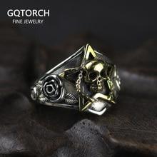 Echt Reine 925 Sterling Silber Viking Ring Schädel Mit Pentagramm Gothic Punk Rock Rose Blume Carving Resizable Für Männer und frauen