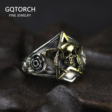 Real Pure 925 Sterling Silver Viking Ring Skull With Pentagram Gothic Punk Rock Rose Flower Carving Resizable For Men and Women