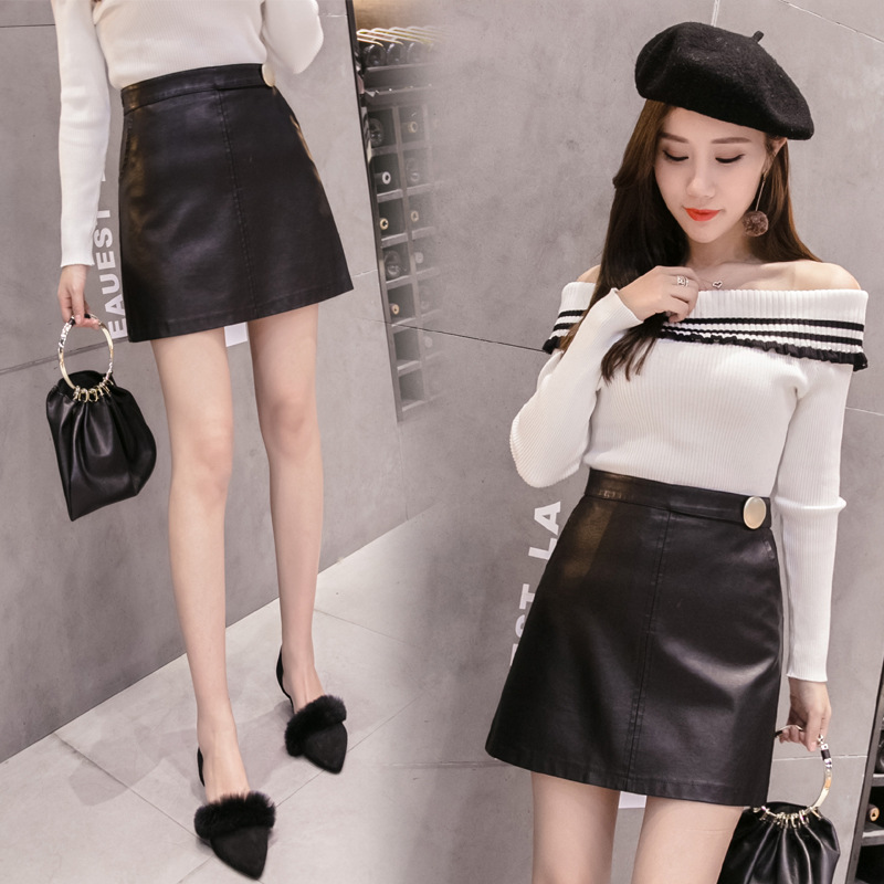Autumn And Winter 935 Loose And Plus-sized Women's 2019 New Style WOMEN'S Dress Large Buttons Leather Skirt Anti-Exposure Divide