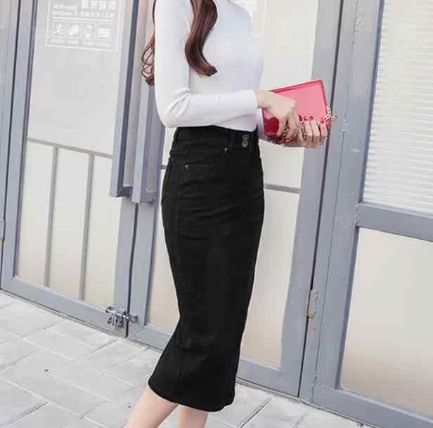 2020 Denim Skirt Vintage Button High Waist Pencil Black Blue Slim Women Skirts Plus Size S-2XL Ladies Office Sexy Jeans RQ80
