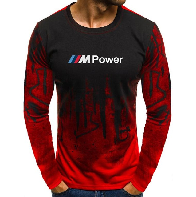 Autumn Lycra Cotton Men'S <font><b>T</b></font>-<font><b>Shirt</b></font> Motorsport for <font><b>BMW</b></font> M Power Print <font><b>T</b></font> <font><b>Shirts</b></font> Men Camouflage Casual Mens Long Sleeve Tshirt Male h image