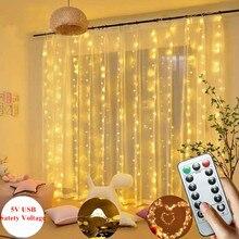 3m cortina led luzes da corda de fadas guirlanda alimentado por usb controle remoto branco quente multicolorido festa natal casa lâmpada decorativa