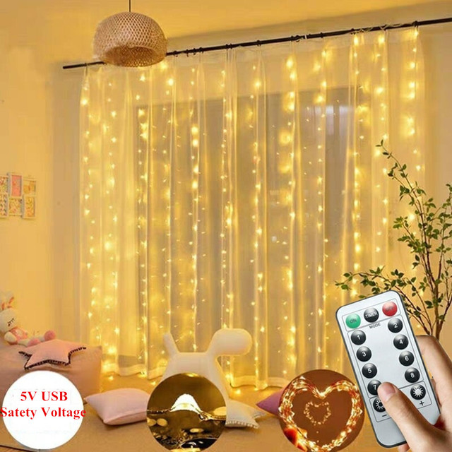 Guirnalda de guirnaldas de luces LED para cortina de 3M, mando a distancia alimentado por USB, Blanco cálido, Multicolor, Lámpara decorativa para casa de fiesta de navidad