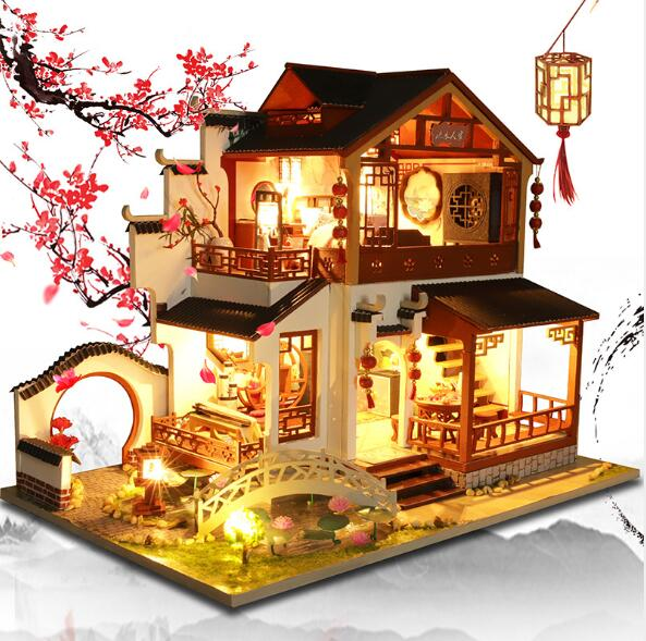 Chinese Style DIY Doll House Furniture Assemble Wooden Miniature Dollhouse Diy Dollhouse Christmas Gift Toys For Children