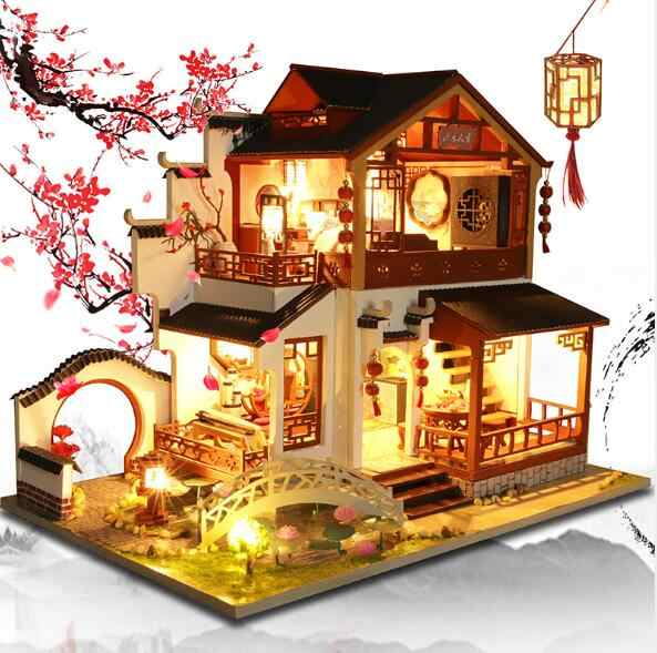 chinese style diy doll house furniture assemble wooden miniature dollhouse diy dollhouse christmas gift toys for children doll houses aliexpress chinese style diy doll house furniture