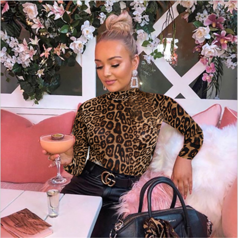 2020 Leopard Bodysuit for Women Sexy Bodycon Skinny Body Suit Turtleneck Long Sleeve Playsuit Printed Rompers Jumpsuits