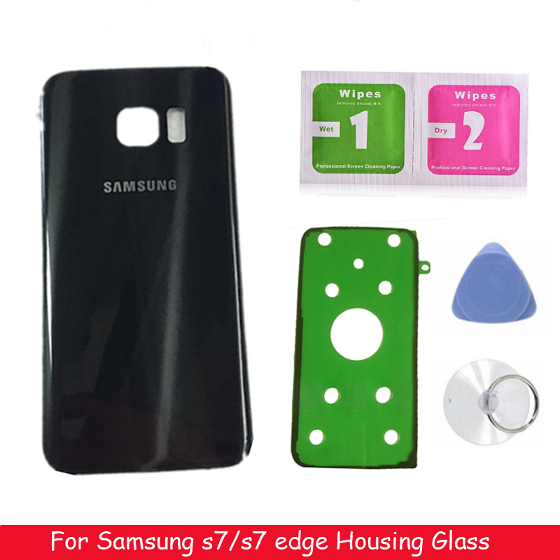 Original For SAMSUNG Galaxy S7 G930 SM-G930F S7 Edge G935 G935F Back Glass Battery Cover Rear Door Housing Case Back Glass Cover image
