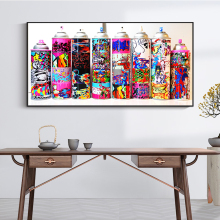 Graffiti Art Spray Can Collection Wall Posters And Prints Colorful Graffiti Paint Bottle Decorative Pictures For Bar Cafe image