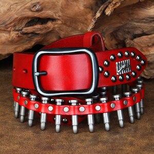 Image 2 - CETIRI Punk Bullet Rivet เข็มขัดผู้ชาย TOP GRAIN หนังแท้เข็มขัดเข็มขัดสำหรับกางเกงยีนส์หญิงบุคลิกภาพ Cool ของขวัญ