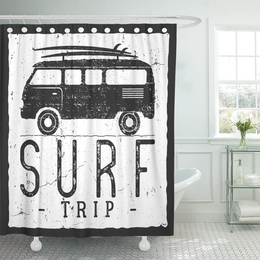 Surf Trip Summer Surfing Retro Badge Beach Surfer Emblem Waterproof Polyester Fabric Shower Curtain 60 x 72 inches Set with Hook