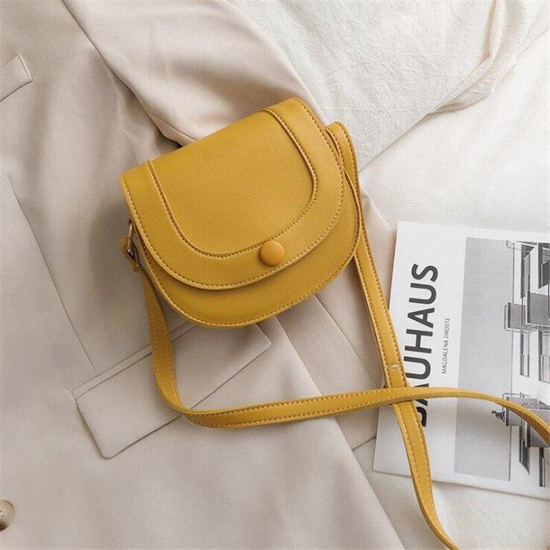 Leather Yellow Shoulder Crossbody Saddle Bags For Women Casual Designer Mini Travel Cross Body Messenger Makeup Purse Bag 2020