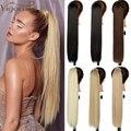 Энергичные длинные прямые волосы для наращивания на заколках конский хвост термостойкие синтетические волнистые искусственные волосы для...