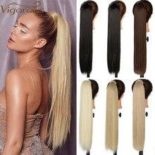 Vigorous-Extensión de cabello sintético para cola de caballo, cabello postizo largo y recto con Clip, resistente al calor