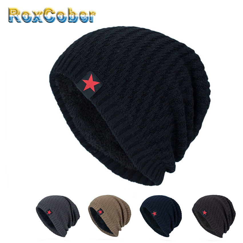 RoxCober Winter Plus Velvet Warm Knitted Sweater Hats Skullies Beanies Hats For Men Women Bonnet Scarf Caps Gorros Male Caps