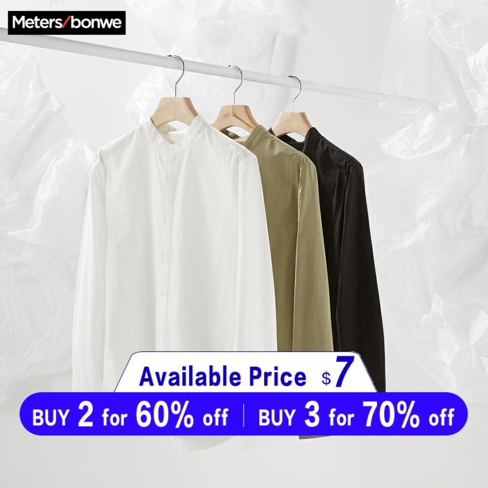 Metersbonwe Brand Men New Casual Shirts 2019 Spring Autumn Male Slim Long Sleeve Shirts Regular Cotton Male Teenager Tops