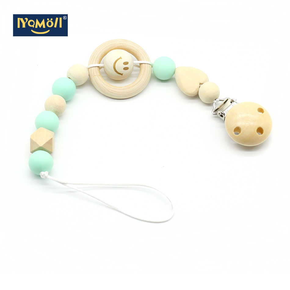 Wooden Pacifier Clips Dummy Clip Baby Products Feeding Pacifier Holder Chupete Soother Chain Nipple Holder