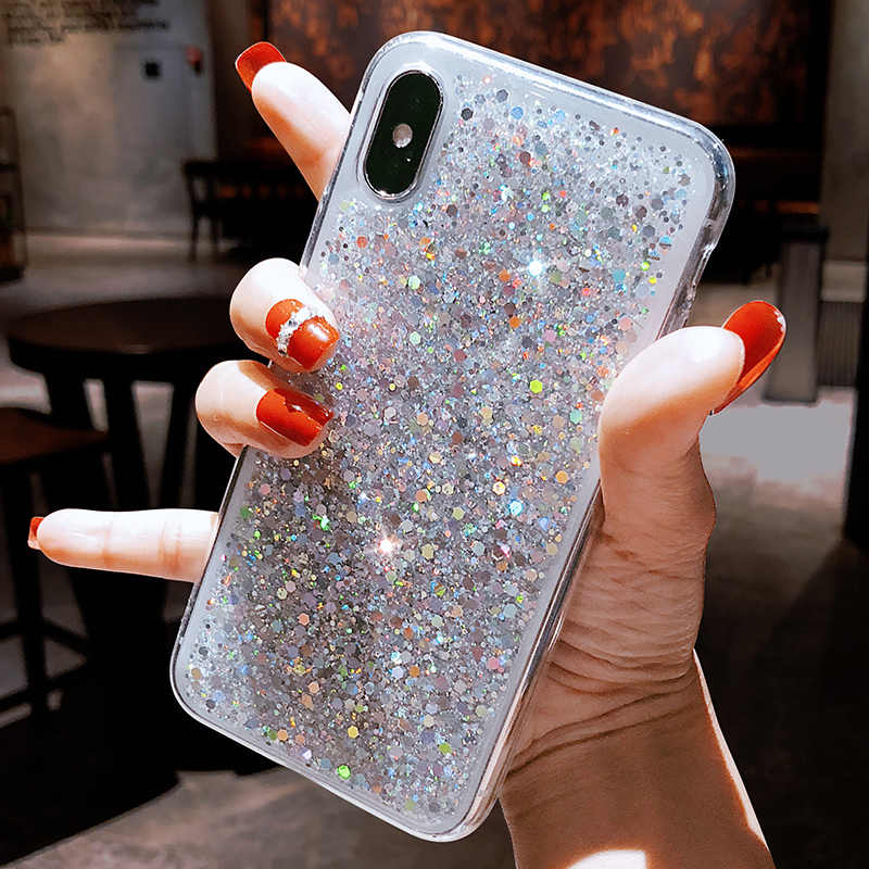 Fashion Bling Glitter Phone Case For iphone 7 8 6 6S Plus 7Plus Girl Case Soft Silicon Cute Cover for iPhone X XS MAX XR 5 5S SE