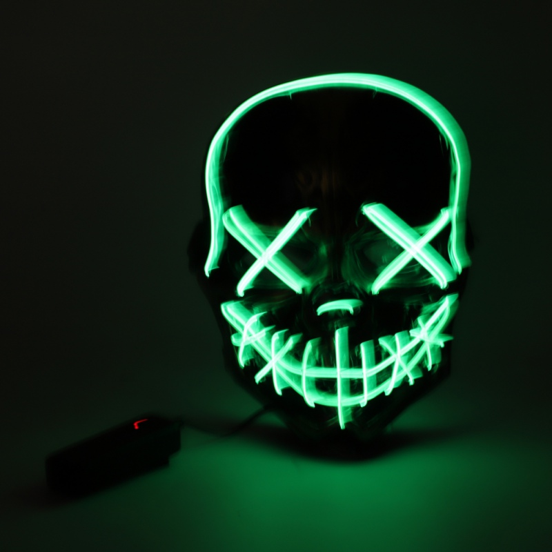 Neon Mask LED EL Wire Light Up Party Purge Halloween glow in the dark GREEN