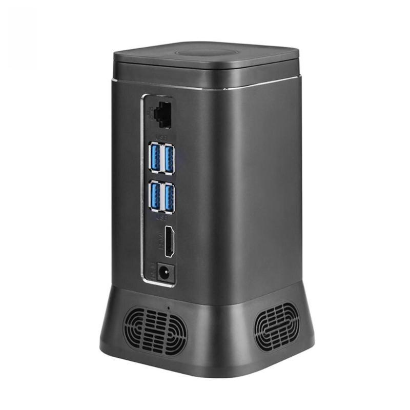 V6B Mini ordinateur sans ventilateur Mini PC 2MP HD caméra Quad Core 4 + 64G Windows 10 HDMI 4K WiFi Bluetooth ordinateur hôte périphérique prise ue